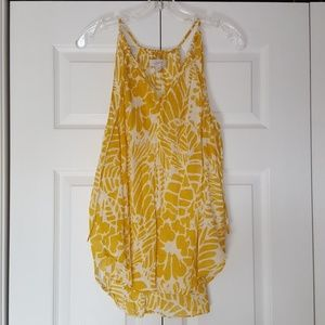 Loft mustard and white tank top, size large